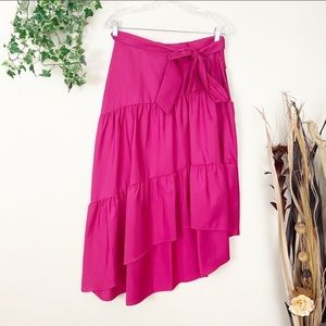 Eliza J Tiered High Low Skirt Pink Size 8 NWT